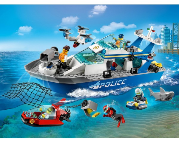 Конструктор LEGO City 60277 Катер полицейского патруля